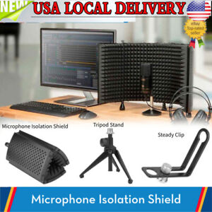 Studio Microphone Shield & Tripod Isolation Reflection Filter Screen Vocal Booth