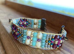 Antique Brass Garnet Ruby Pearl czech beaded bracelet Sundance Inspired