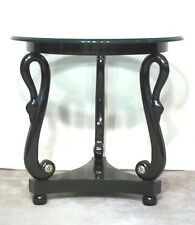 MID CENTURY MODERN CLASSICAL REGENCY BLACK LACQUER SWAN HEAD TABLE