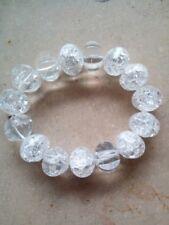 Edles Armband aus Bergkristall crash 16 mm NEU!! Edelstein Rondellen NEU!! #c113