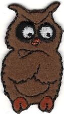 """7/8"""" x 1 5/8"""" Crossed Wing Brown Owl Halloween Embroidery patch"""
