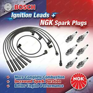 6x NGK Spark Plugs + Bosch Leads for Mercedes Benz 300E 300GE 300SE 300SEL 300SL
