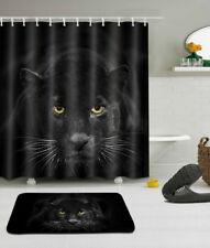 Polyester Fabric Black Panther at Night Shower Curtain Liner Bath Mat Hooks