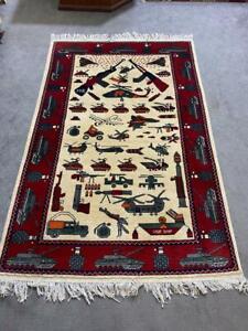 hand made afghan war rugs, afghan war Russian war rugs size 180 cm x 120 cm