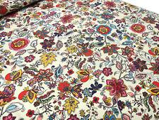 Stoff Baumwolle Jersey Blumenmuster Blüten sand beige rosa rot bunt Kleiderstoff