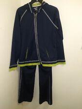 Women's Oleg Cassini Sport Lightweight Navy/Green Track Suit Activewear Size L