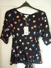 Monsoon Sofia Navy Eclipsed Spot Drapey Tie Front Top UK 14 EUR 42 US 10