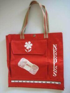 Vintage Knitting Bag Organizer Tote Needles Yarn Red White