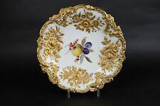 Superbe Antique Meissen large  Fruit Bowl 30 cm / 12 inch Fat Raised Gold. Top!