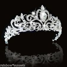 WEDDING BRIDAL FLOWER GIRL PROM PAGENT TIARA CROWN RHINESTONE CRYSTAL CZ