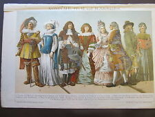 COSTUMES IV (17TH AND 18TH CENTURIES) 1800'S GERMAN CHROMOLITHOGRAPH-CLOTHES-HAT