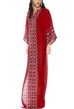 OSCAR DE LA RENTA $3,990 embroidered red silk caftan robe kaftan dress S NEW