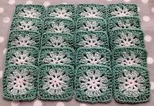 "20 4"" LIGHT GREEN & SAGE Hand Crochet FLOWER GRANNY SQUARES Afghan Yarn Blocks"