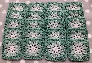 "Lot of 20 4"" LIGHT GREEN SAGE Crochet FLOWER GRANNY SQUARES Afghan Yarn Blocks"
