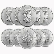 Lot of 10 - 2020 1 oz Canadian Silver Maple Leaf .9999 Fine $5 Coin BU