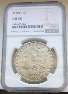 1888-S Silver Morgan Dollar NGC AU58
