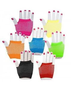 Neon Pink Short Fishnet Gloves I LOVE 80s Fancy Dress Hen Party Accessories