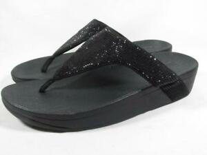 FitFlop Lottie Shimmer Slide Sandal Women size 10 Black