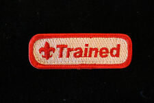 "OFFICIAL BSA ""TRAINED"" PATCH (Red, Tan) - Boy Cub Scouts - Embroidered"