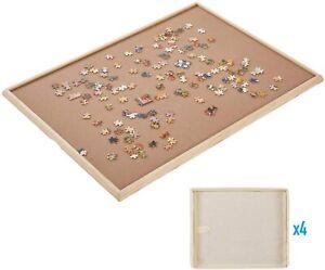 "Wooden Jigsaw Puzzle Board 29""x21"" Portable Storage 1500 Pcs W/4 Slid Drawers"