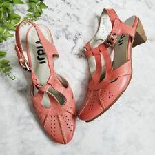 Fidji Coral Cutout Leather Ankle Strap Pumps Eur 36 US 5.5