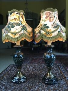Pair Antique Pair Dark Green Marble Urn Converted Bedside Table Lamps & Shades