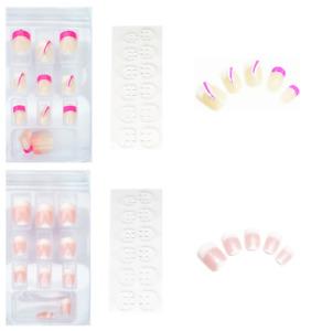 48 Kunstnägel Short Full Size Cover Nails Natur Rose + Pink  mit Pads K-SH2