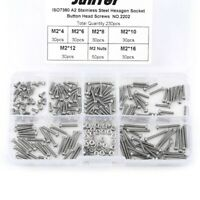 230x M2 Stainless Steel Hex Socket Button Head Screws Bolts Nuts Assortment Kit