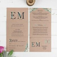 Wedding Invitation - Kraft Fern Monogram