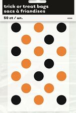 50x Orange Black Dots Favours Treat Loot Lolly Bags Halloween Party Birthday NEW