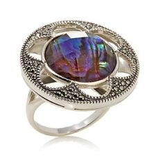 Reflections : Judith Jack Purple Abalone and Marcasite Ring sz 6 sterling silver