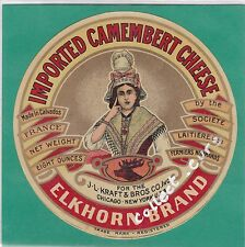 J468 FROMAGE CAMEMBERT FERMIERS NORMANDS CALVADOS ELKHORN BRAND NEW-YORK CERF
