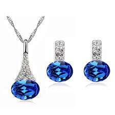 Elegant Royal Blue Jewellery Set of Stud Earrings and Necklace Pendant S369