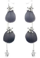 F1819 fashion light Feather silver tone chain skull fish bone dangle earrings