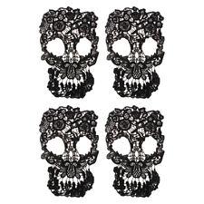 Prettyia 4PCS Skull Wedding Lace Trim Cloth Gothic Embroidery Dress Applique