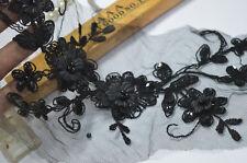 35*13cm 1pc/lot black organza 3D sequines patches Wedding Sewing Lace Applique
