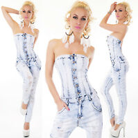 Sexy Jeans Bandeau Overall Pants Jumpsuit Harem Destroyed Look XS-XL