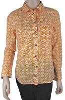 MAEVE Anthropologie Button Down Top Shirt Orange Geometric Print Cotton Sz 2