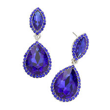 Royal Blue diamante earrings sparkly bling prom party bridal cobalt dangly 0387
