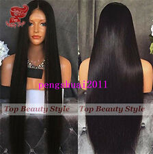 Black Long Straight Lace Front Silky Straight Wig with Baby Hair Wig Synthetic