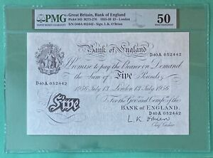 B276 O'BRIEN 1956 BANK OF ENGLAND WHITE FIVE POUND £5 NOTE ABOUT UNCIRCULATED