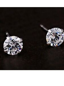 DIAMOND STUDS SIMULATED LADIES 6mm SILVER CLASSIC EARRINGS