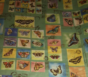 """Cyrus Clark """"Papillon"""" 1996 BUTTERFLY Stamped Postage / Teflon ~ NEW 56"""" x 39"""""""