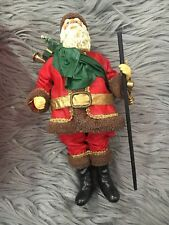 Possible Dreams Clothtique Santa Figure Green Red Staff Sack Bag Gifts W/ Box