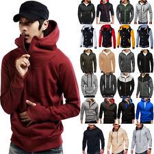 Men Zip Hoodie Hooded Sweatshirt Fleece Top Plain Hoody Jumper Pullover Winter