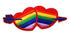 Rainbow Double Love Heart Embroidered Iron Sew On Patch Valentine Badge