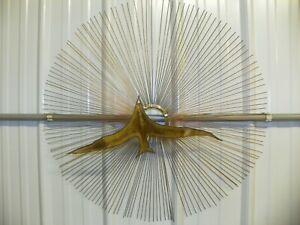 Mid Century Curtis Jere Style Birds In Flight Sunburst Brass Brutalist Wall Art