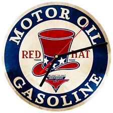 "8"" WALL CLOCK  Vintage Looking Sign Garage #18 Red Hat Motor Oil Gasoline Gas"