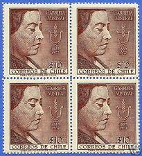 CHILE, GABRIELA MISTRAL, NOBEL PRIZE, BLOCK OF FOUR, 1958, MNH
