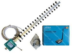 WiFi Antenna 20dBi YAGI + ALFA ACHM Super Long Range Booster DUAL BAND 802.11ac